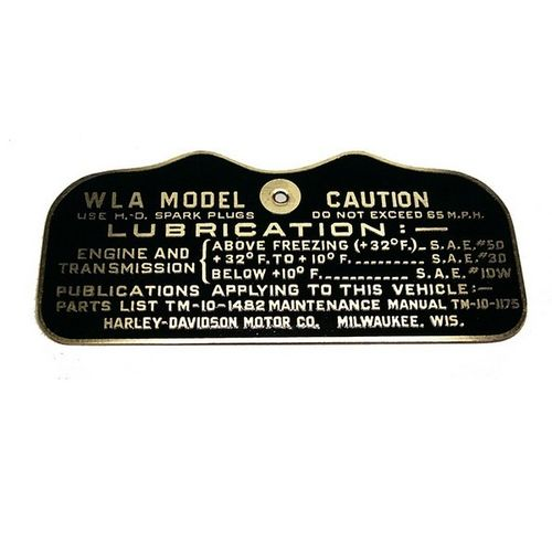 PLAQUE DATA CAUTION  HD WLA 1942